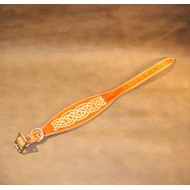 Greyhound or Large Lurcher Collar Handmade in Saddle Tan Leather with an embossed Celtic Design